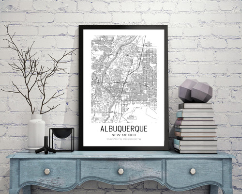 Albuquerque, New Mexico City Map Art Print