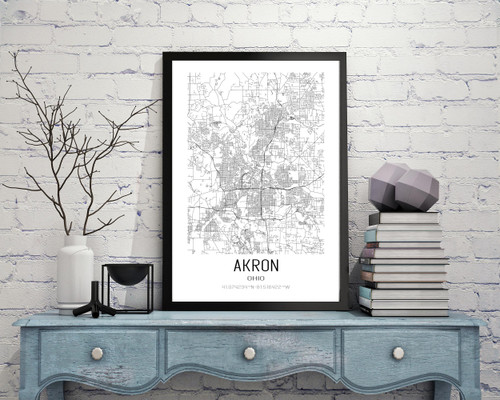 Akron, Ohio City Map Art Print