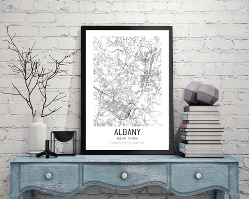 Albany, New York City Map Art Print