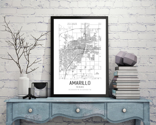 Amarillo, Texas City Map Art Print