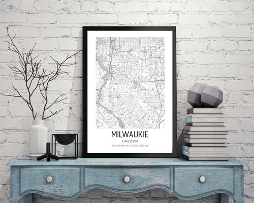Milwaukie, Oregon City Map Art Print