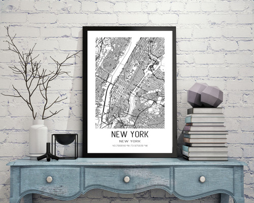 New York City, New York City Map Art Print