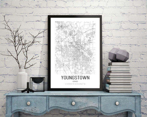 Youngstown, Ohio City Map Art Print
