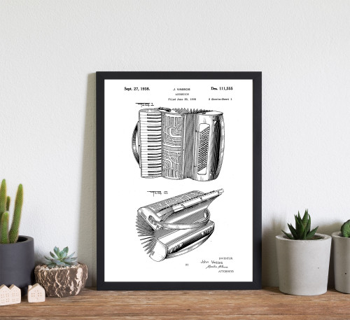 Accordion Instrument Patent Art Print