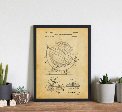 Travel Globe Patent Art Print