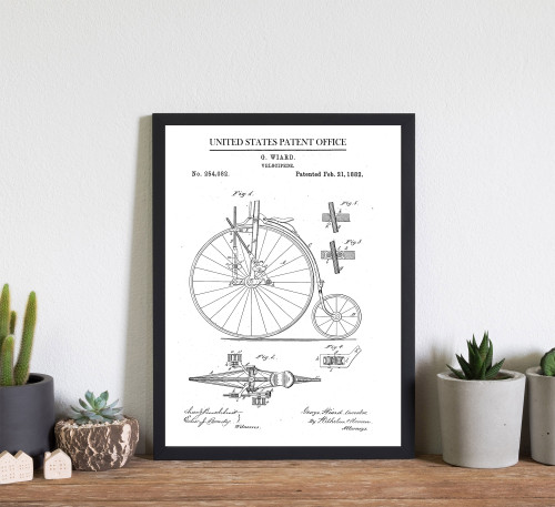 Velocipede bicycle Patent Art Print
