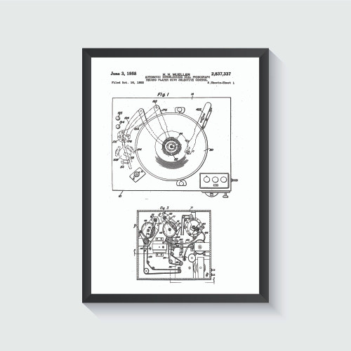 Vintage Record Player Patent Art Print