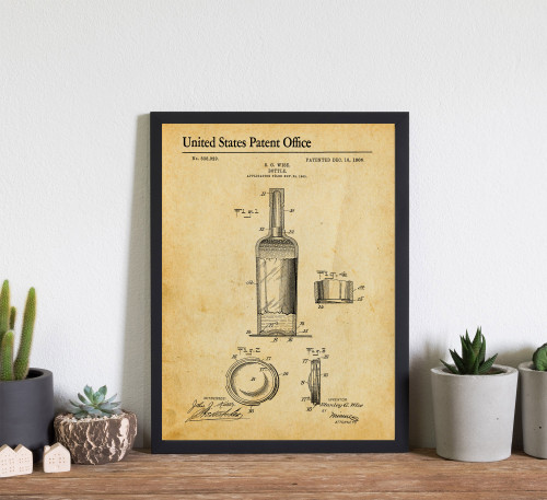 Wine Bottle Patent Art Print