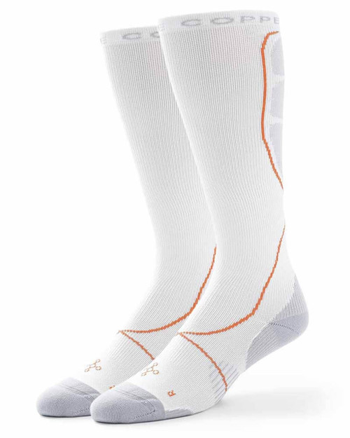 White with Silver - Men's Performance Compression Over The Calf Socks