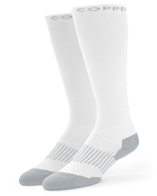 White with Grey - Women's Performance Compression Over The Calf Socks