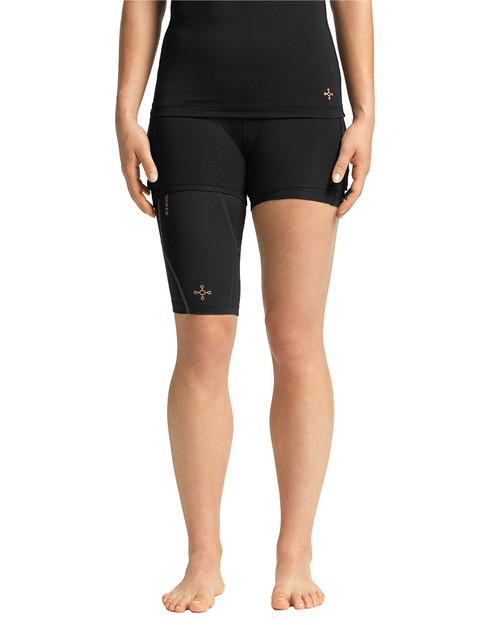 Black with TC Tonal Stitch - Women's Performance Compression Quad Sleeve