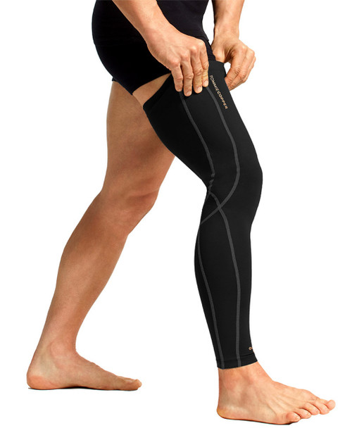 Black with TC Tonal Stitch - Men's Performance Compression Full Leg Sleeve
