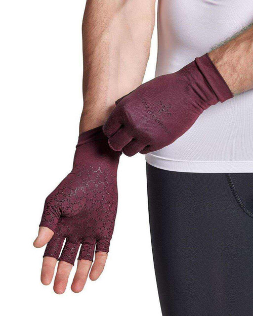 Burgundy - Men's Core Compression Half Finger Gloves