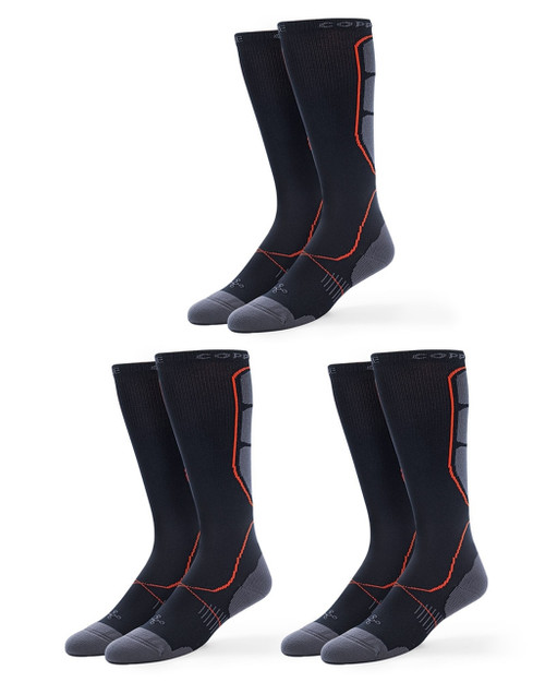 Black - Men's 3 Pack Performance Over the Calf Socks