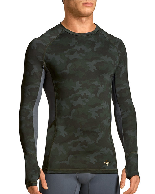Pine Camo with Dove Grey - Men's Performance Compression Long Sleeve Raglan Crew Neck Shirt