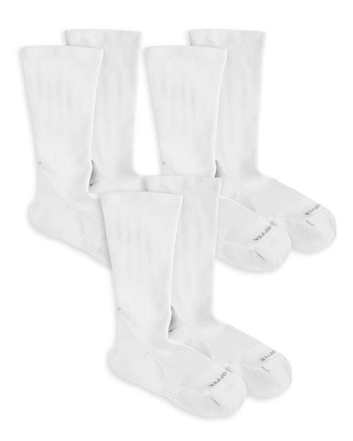 White - Women's Copper Cotton® Compression Crew Socks - 3 Pack