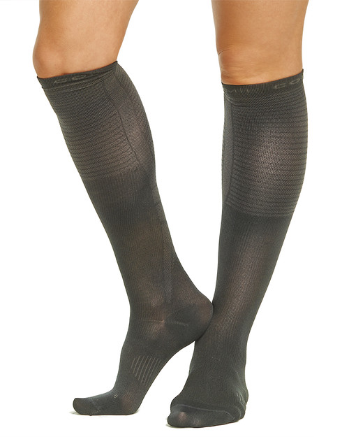 Charcoal - Women's Performance Compression Dress Over The Calf Socks