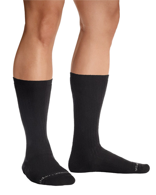 Black - Men's Copper Cotton® Compression Crew Socks - 3 Pack