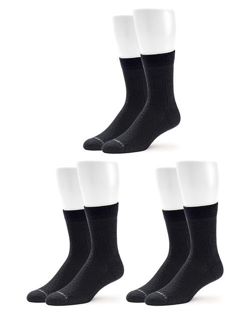Black - Men's 3-Pack Pro-Grade Wool Compression Crew Socks