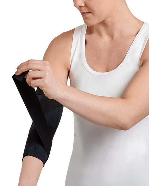 Black with TC Tonal Stitch - Women's Pro-Grade Adjustable Support Compression Elbow Sleeve