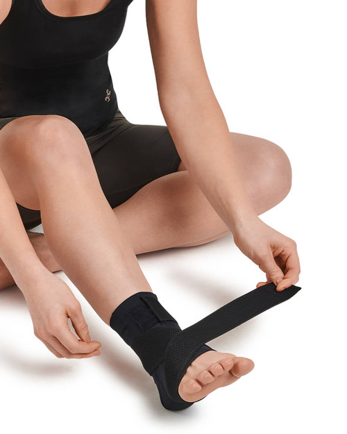 Black with TC Tonal Stitch - Women's Pro-Grade Adjustable Support Compression Ankle Sleeve