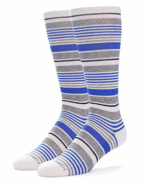 White with Nautical Blue - Men's TruTemp Ultra-Fit Over The Calf Socks