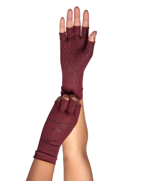 Burgundy - Women's Core Compression Half Finger Gloves