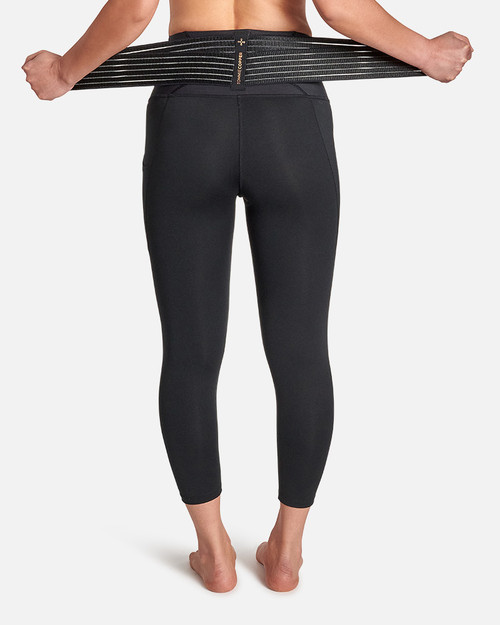 Black - Women's Pro-Grade Lower Back Support Leggings with Adjustable Straps