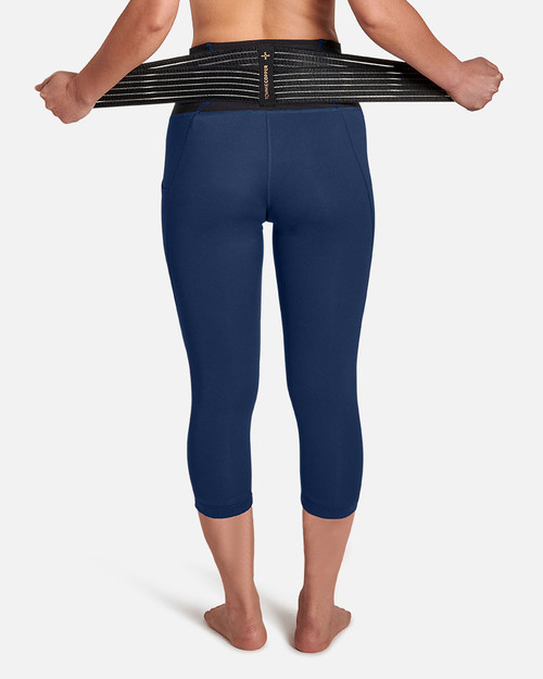 Navy - Women's Pro-Grade Lower Back Support Capri with Adjustable Straps