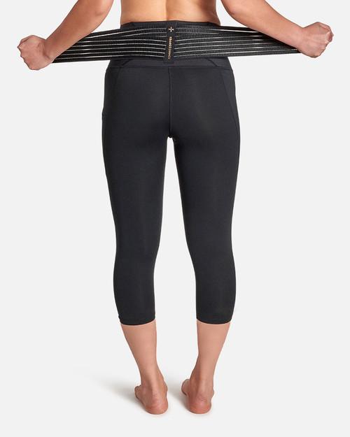 Black - Women's Pro-Grade Lower Back Support Capri with Adjustable Straps