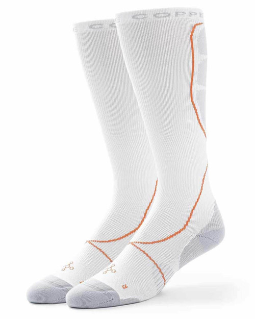 White with Silver - Men's Performance Compression Over The Calf Socks Outlet
