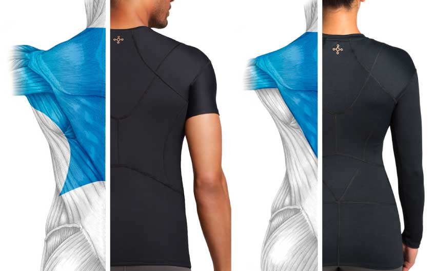 Illustrations of a man and a woman wearing Shoulder SUpport Shirts showing the muscles.