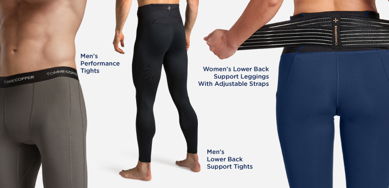 Men and women wearing Tommie Copper compression bottoms.