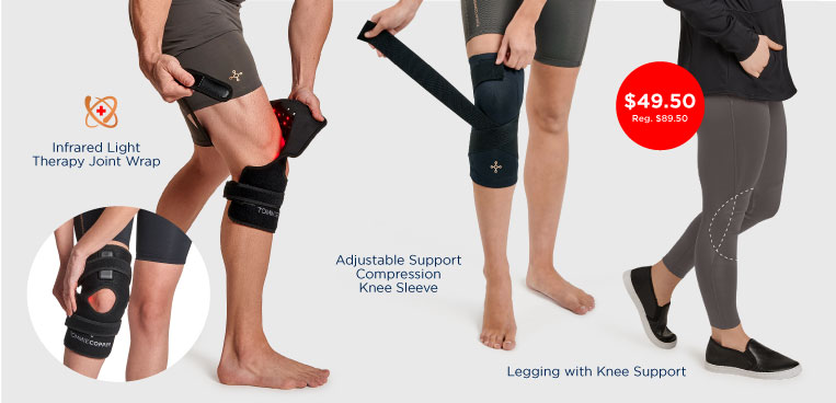 Men and women wearing various Tommie Copper Knee Pain Solution products.