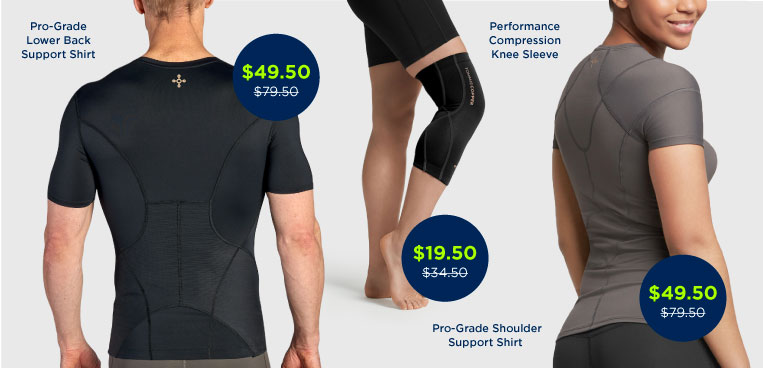 Men and women wearing various Tommie Copper compression clothing.