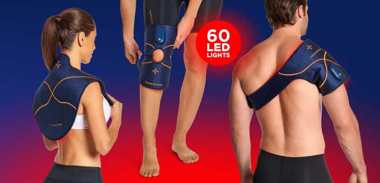 A man wrapping the new Infrared Therapy Joint Wrap around his knee and a woman wrapping the new Infrared Therapy Pad around her lower back.