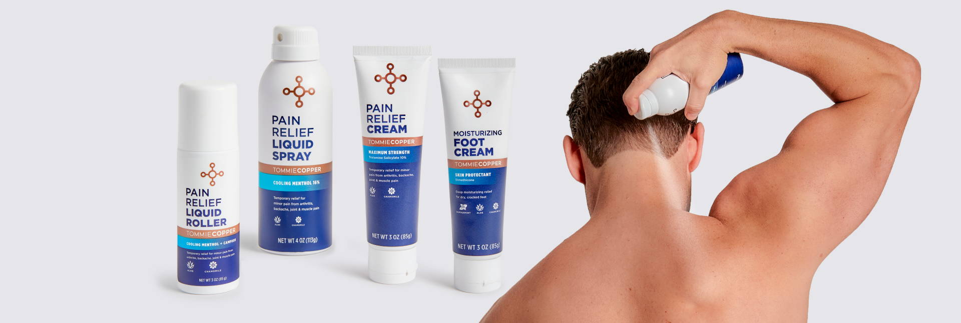 A selection of Tommie Copper® products using menthol for pain relief, and a man applying one.
