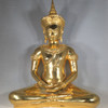 Brass  Ayutthaya Style Thai Buddha Seated in the Half Lotus Posistion or the ardhapadmasana with both hands resting in his lap in the dhyana mudra