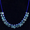 Blue Topaz Briolette Cut Drops, Blue AAA Lapis Beads with Gold Plated Clasp 21 grams,108 ct