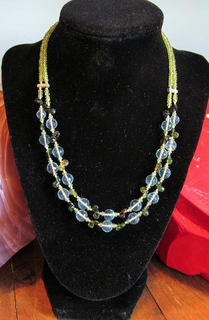 Blue Topaz -Green Amethyst - Peridot