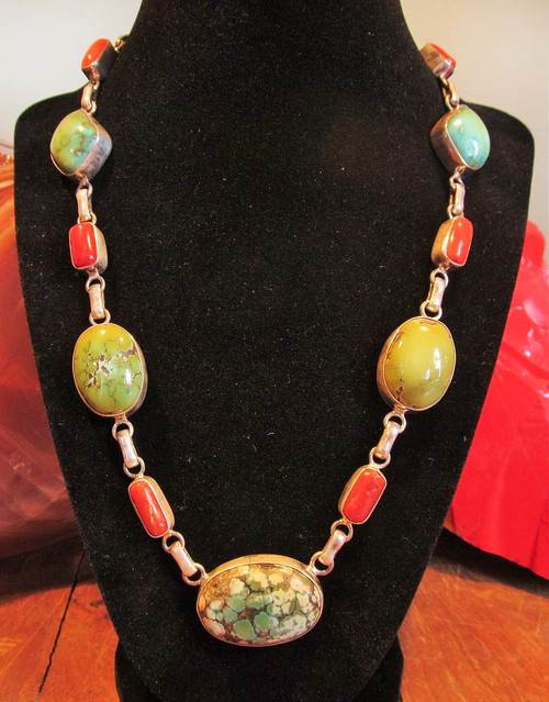 Antique Tibetan Turquoise, Coral Beads set in Sterling Silver