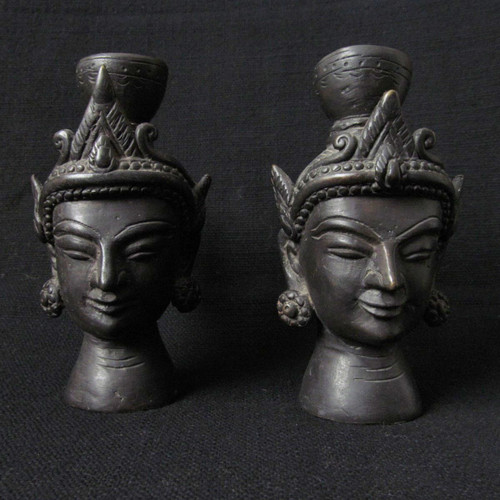 Bronze candle Holders, Mandalay Burma, 20th Century-SOLD
