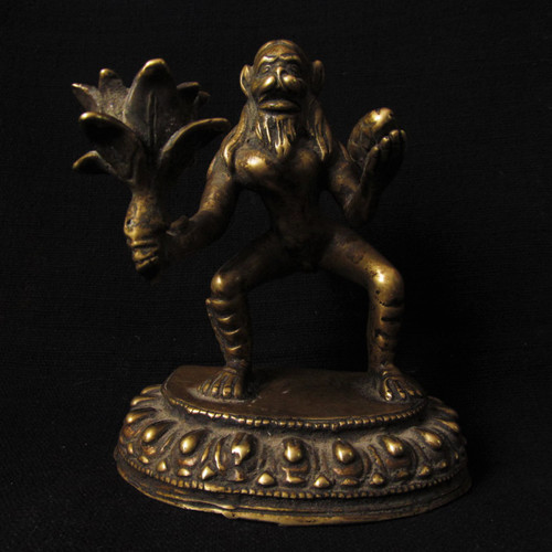 SOLD-Antique Bronze Lord Hanuman Statue Holding Mount Dron of Sanjeevani -SOLD