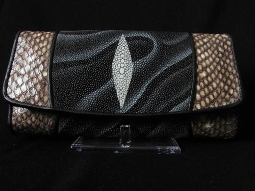 Women's Geuine White pearl Stingray, Cobra Leather Tri-fold Wallet, Black Tiger Print