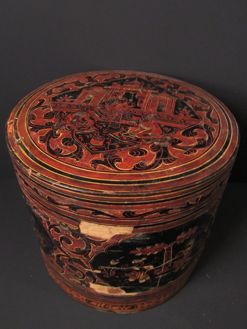 Large Burmese Lacquered Betel Box - 19th Century # 4