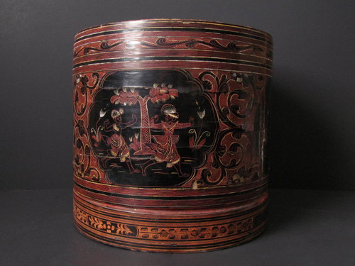 Large Burmese Lacquered Betel Box - 19th Century # 4
