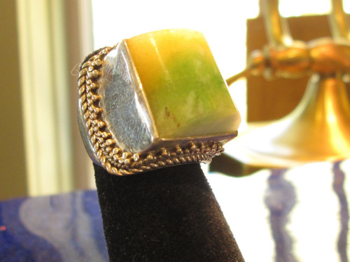 Green and Yellow Jade Ring Size 6 3/4