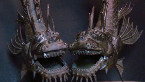 Bronze Dragon Fish Pair-SOLD