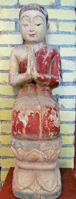 Carved Teak Hardwood Burmese Monk #1