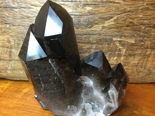 SOLD-The Dark City Cluster, Four Very Dark Smoky Quartz Crystals